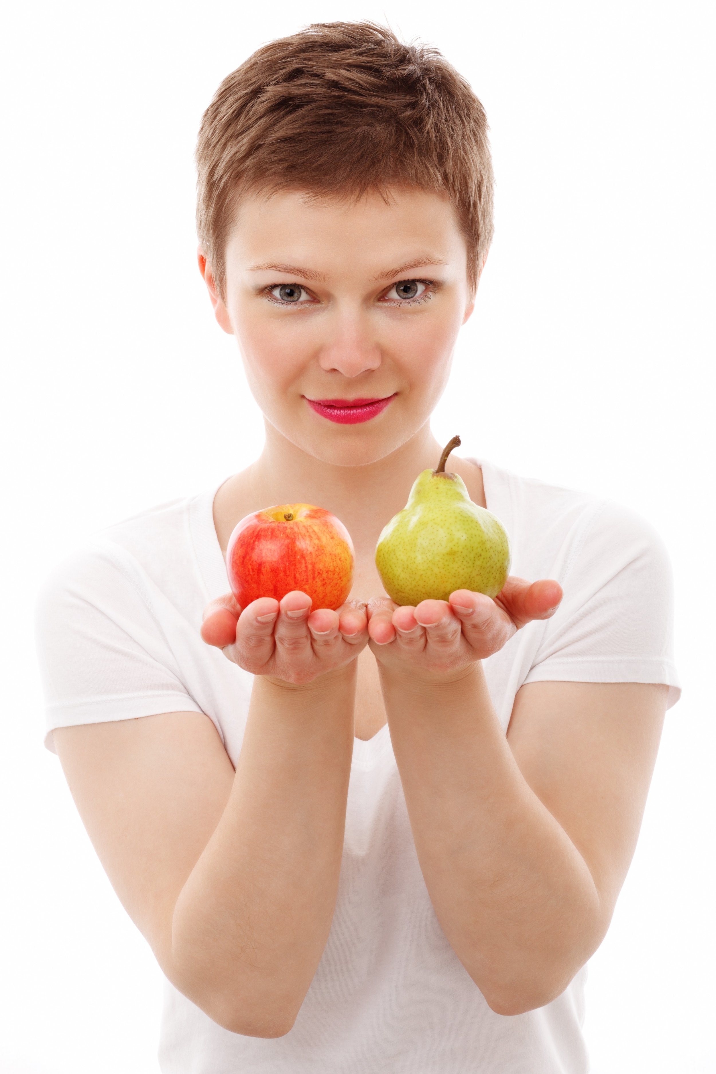 Let's write a blog about comparing apples to apples and have a picture showing apples and pears.