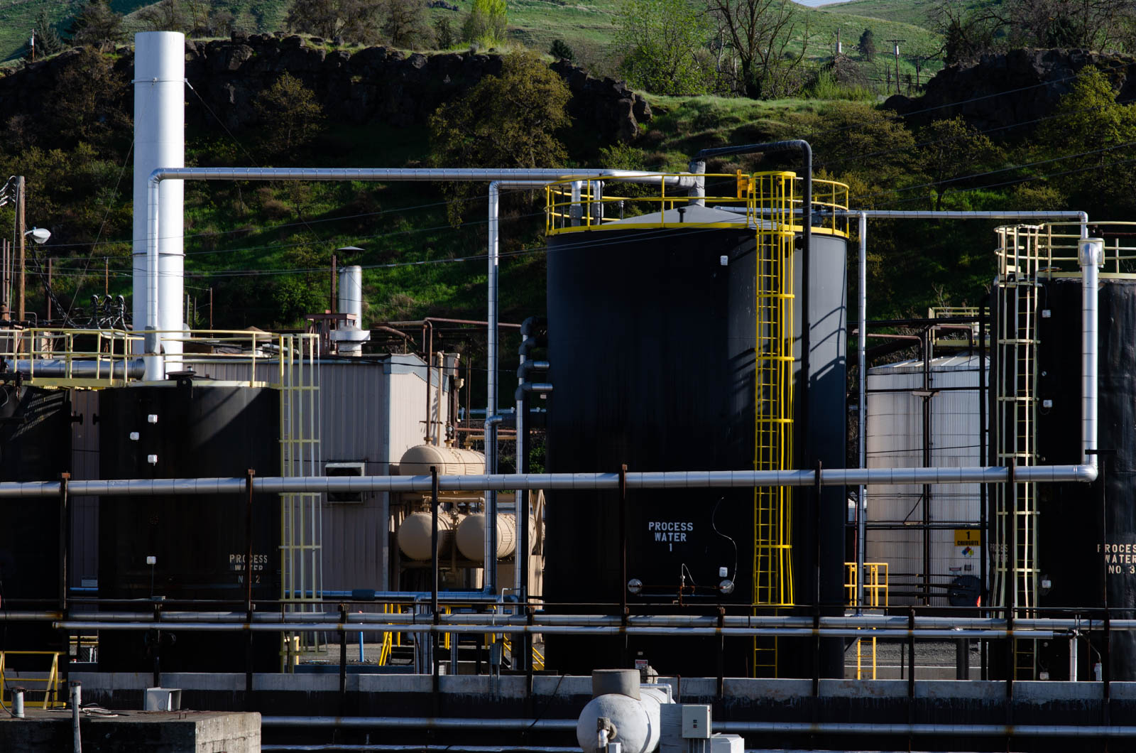 Process water and creosote tanks at AmeriTies West in The Dalles, Ore.