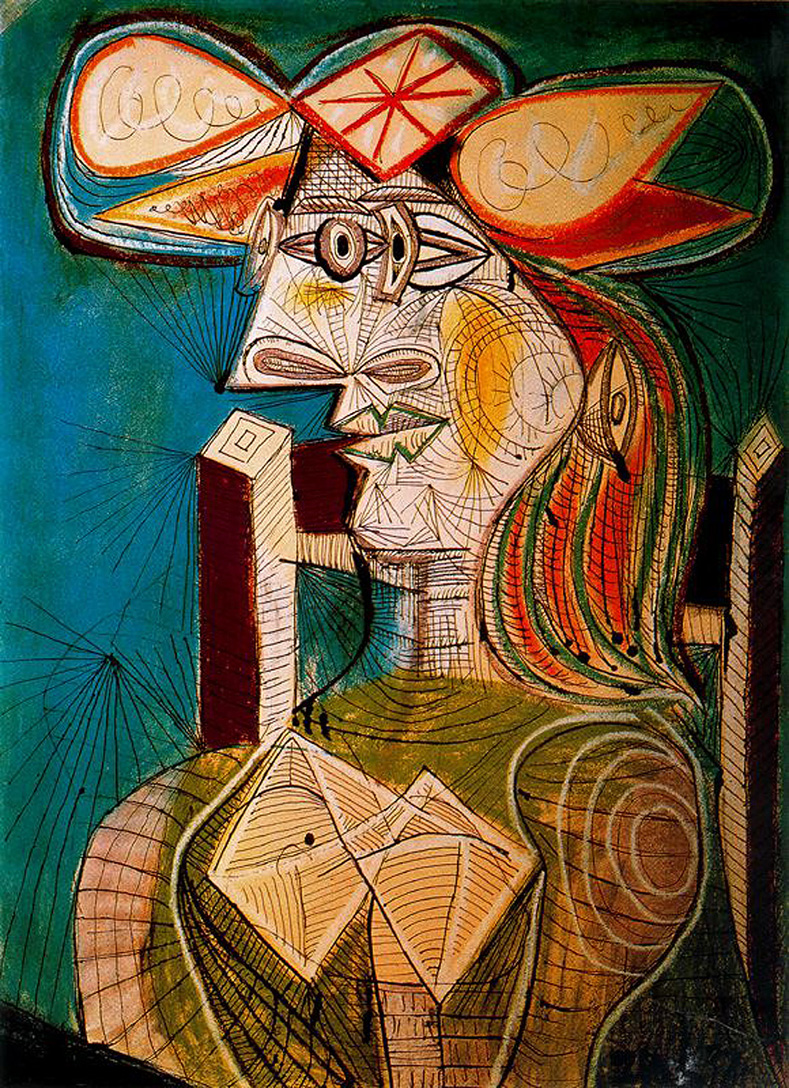 Pablo Picasso seated woman on wooden chair.jpg