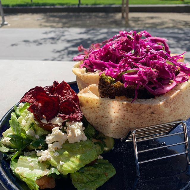 Come by for lunch and try our new fresh baked pita sandwiches! • This the Falafel, our Vegetarian option. Fennel scented falafel, whipped chèvre, shatta aoili, jalapeño-cabbage slaw. $12 • This is ordered with a side fattoush salad. $5 🥗 • • • • • • #dyafa #falafel #pita #sandwhiches #fennel #aioli #vegetarian #oaklandlunch #foodie #arabicfood #oaklandeats #bayareaeats