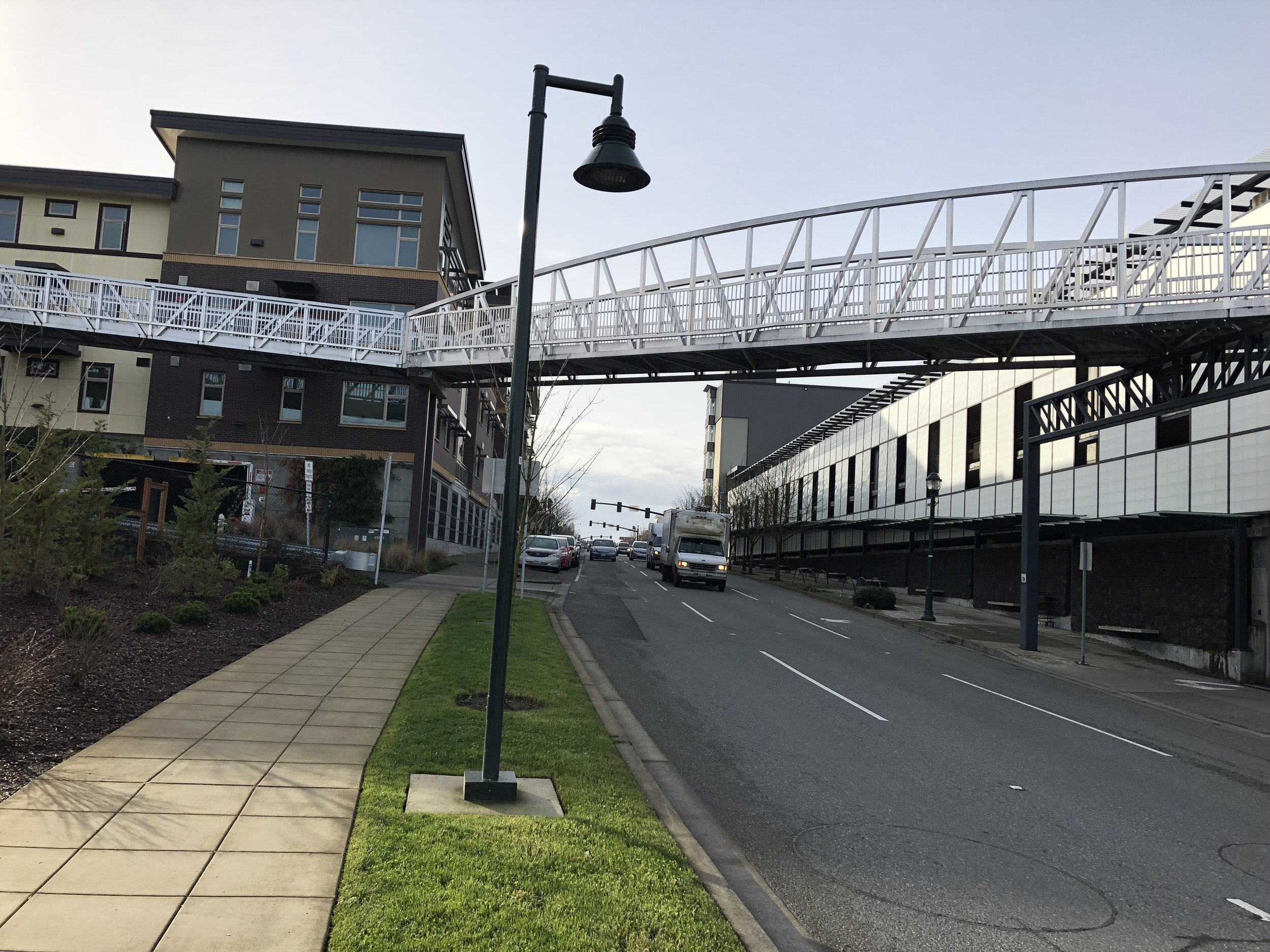 This aluminum pedestrian bridge was designed, furnished and installed for less than the cost of a conventional pedestrian bridge design!