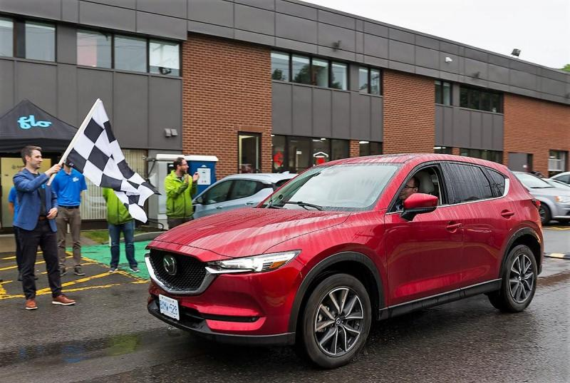 Leaving FLO headquarters during the final leg of the EcoRun in Quebec City. The Mazda CX-5 I'm driving managed a decent 7.8 litres/100 km under my steady hand – and foot.