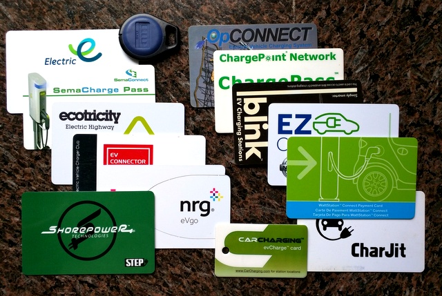 Example of charging station payment options:  Patrick C.'s collection of 14 charging network cards .
