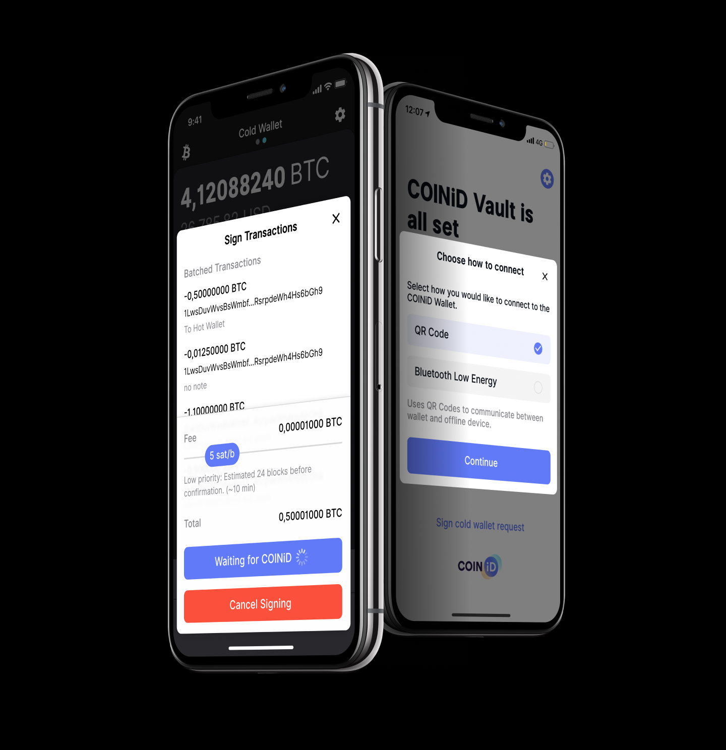 Download the COINiD Vault on a separate mobile device to create cold storage for your coins.