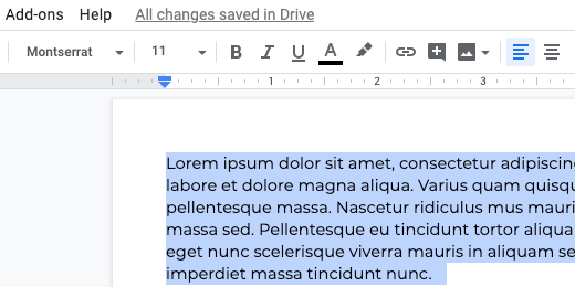 font applied to paragraph