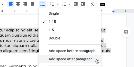 add space after paragraph