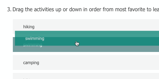 Click and drag to sort activity choices