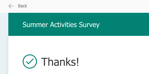 Thanks message after submitting the form
