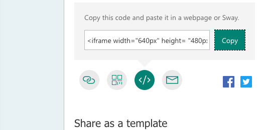 Form embed code for web pages