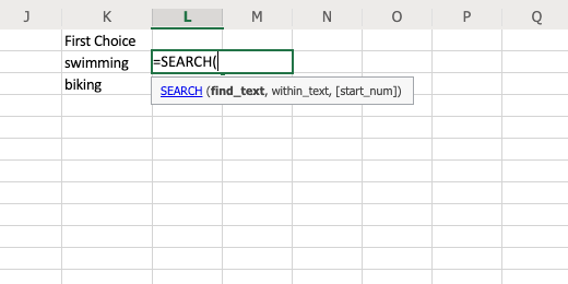 Search function parameters