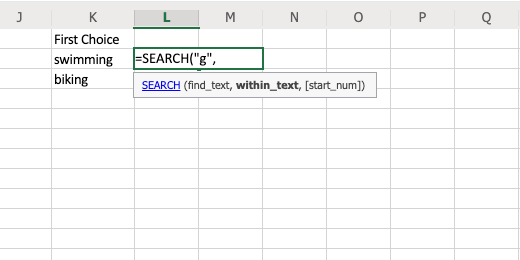 Search for character in text