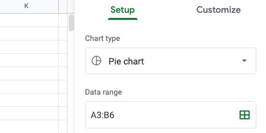 Chart setup and chart selector