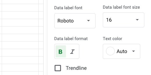Data label font and text options