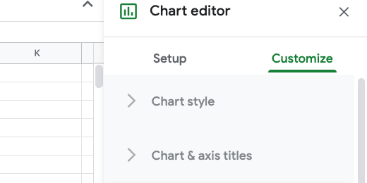 Chart editor customize section