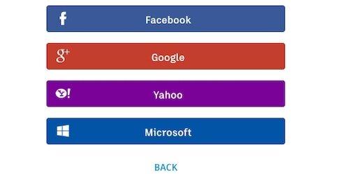 Microsoft, Google, Yahoo, and Facebook log in options
