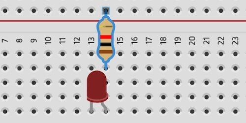 resistor connected to led on breadboard
