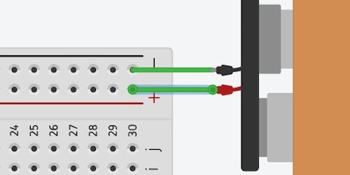 battery terminals connected to breadboard