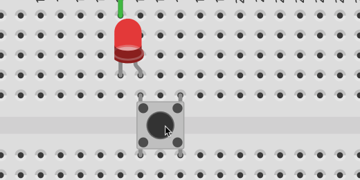 Pressing push button on LED circuit