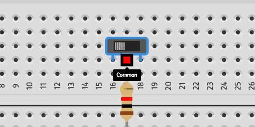 closeup of common connection for switch