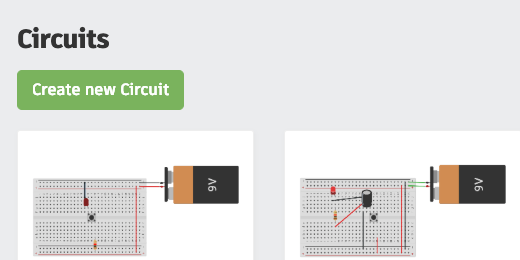 Create a new circuit in tinkercad