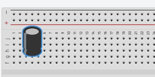 polarized capacitor on breadboard