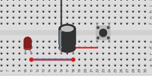 jumper wire between capacitor and LED Anode