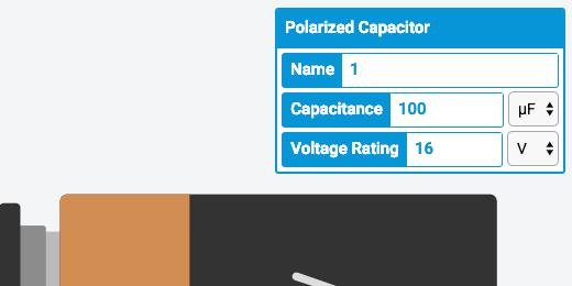 capacitor capacitance of 100 microfarads