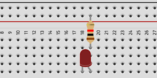 led and transistor on breadboard