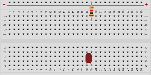 resistor and led on separate sides of a breadboard