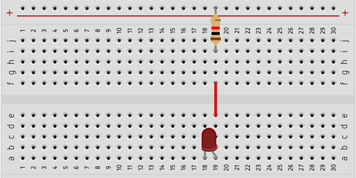 jumper wire connects LED and resistor