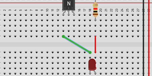 jumper wires from LED to collector on transistor