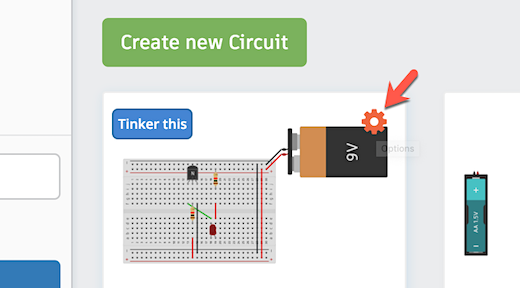 tinkercad circuit options icon