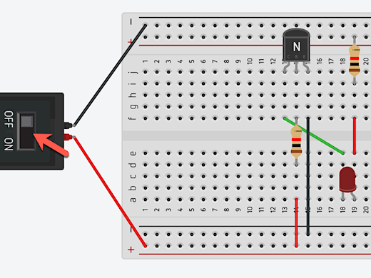 use the switch to send current to the transistor