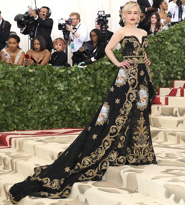 Emilia Clarke , wearing Dolce & Gabbana  That MAKEUP! I love her.
