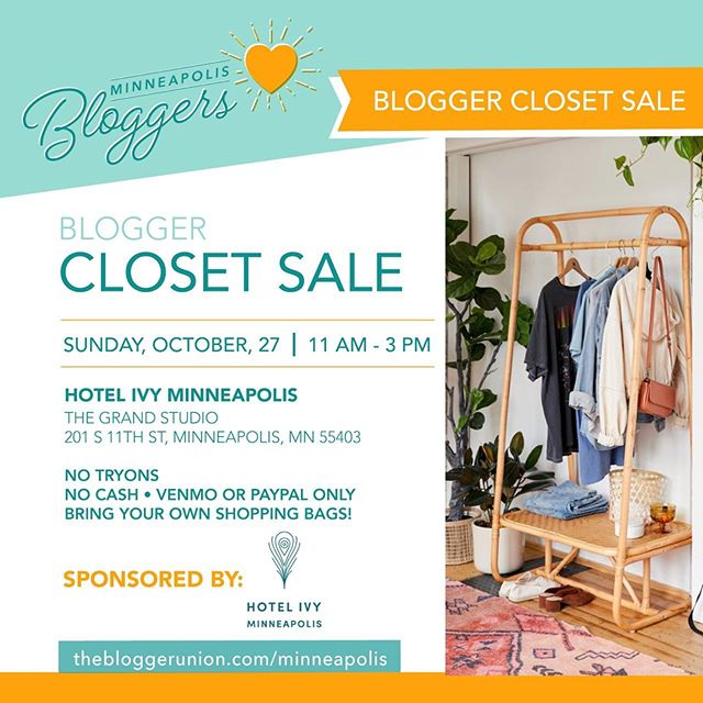 Hey there and happy Friday! Next weekend I will be participating in a Blogger Closet Sale with some super fashionable ladies! There will be varying styles and sizes to choose from, oh and snacks and beverages too.  Would love to see you there!  #blogger #minneapolisbloggers #minneapolisblogger #bloggerclosetsale #style #instafashion #shopping #trends #instastyle #fallfashion #highfashion #deals