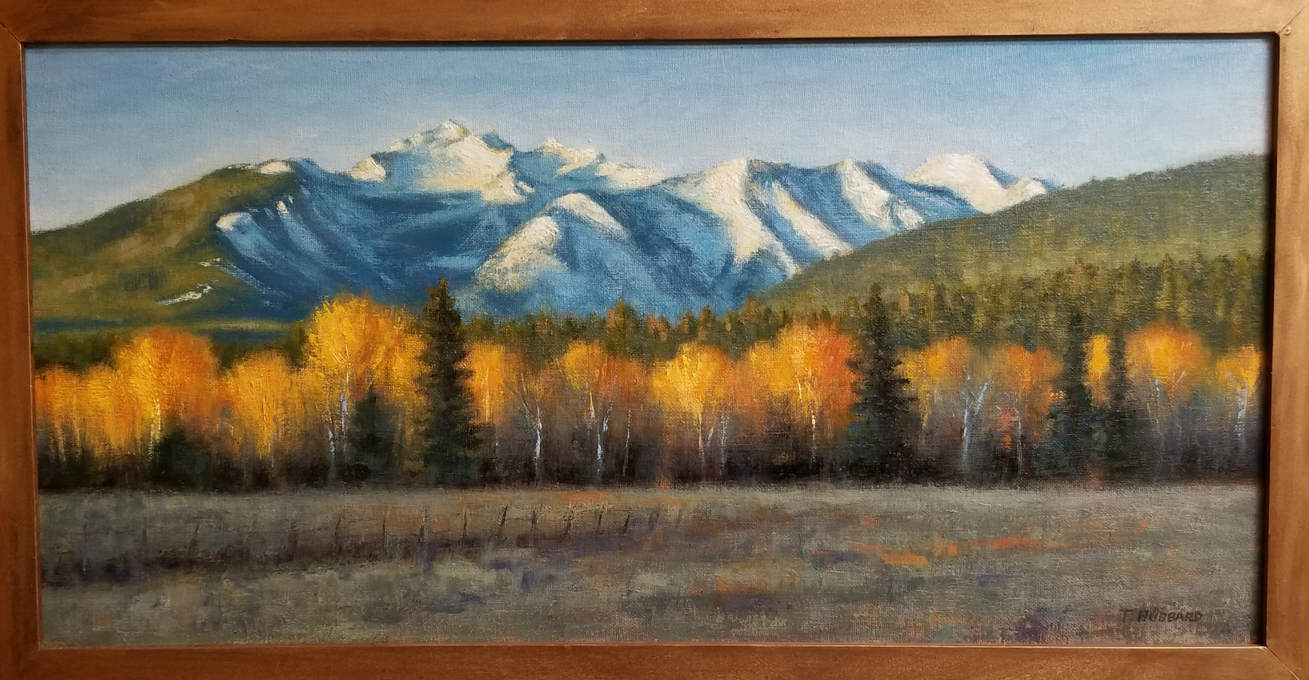 Three Sisters at Dawn , 30x18, oil on canvas by Tracie Hubbard
