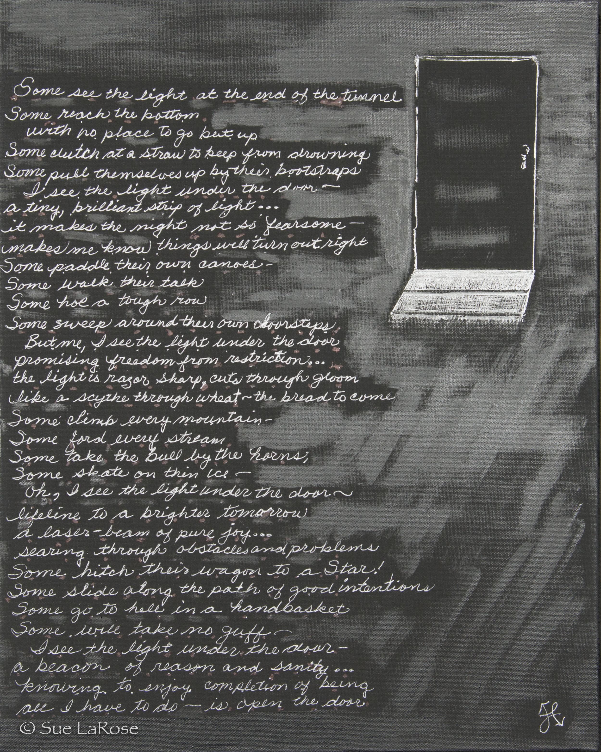THE ART UNDER THE DOOR, 20x16, mixed mediaby Jilaine Callison -