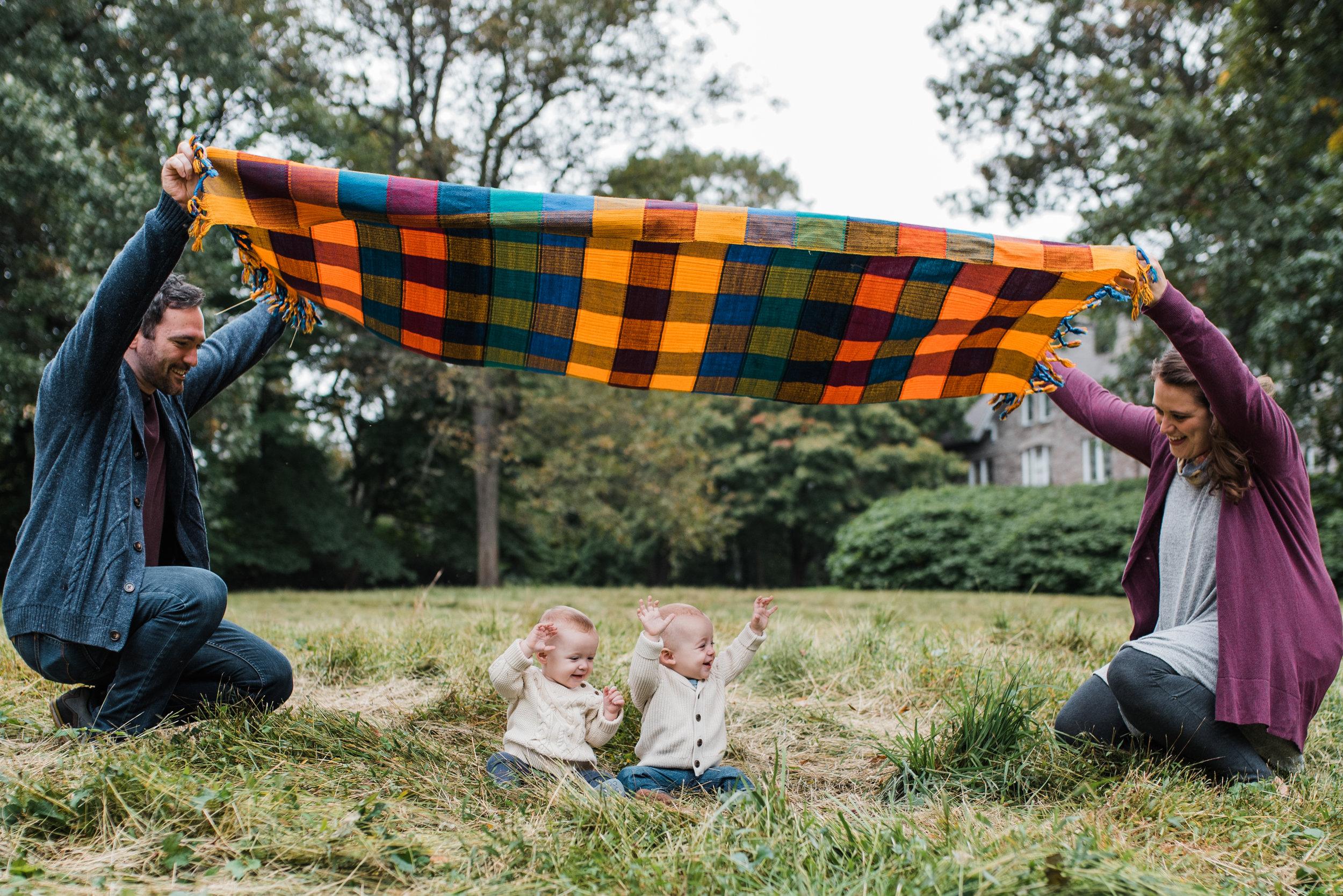 Family playing at Awbury Arboretum