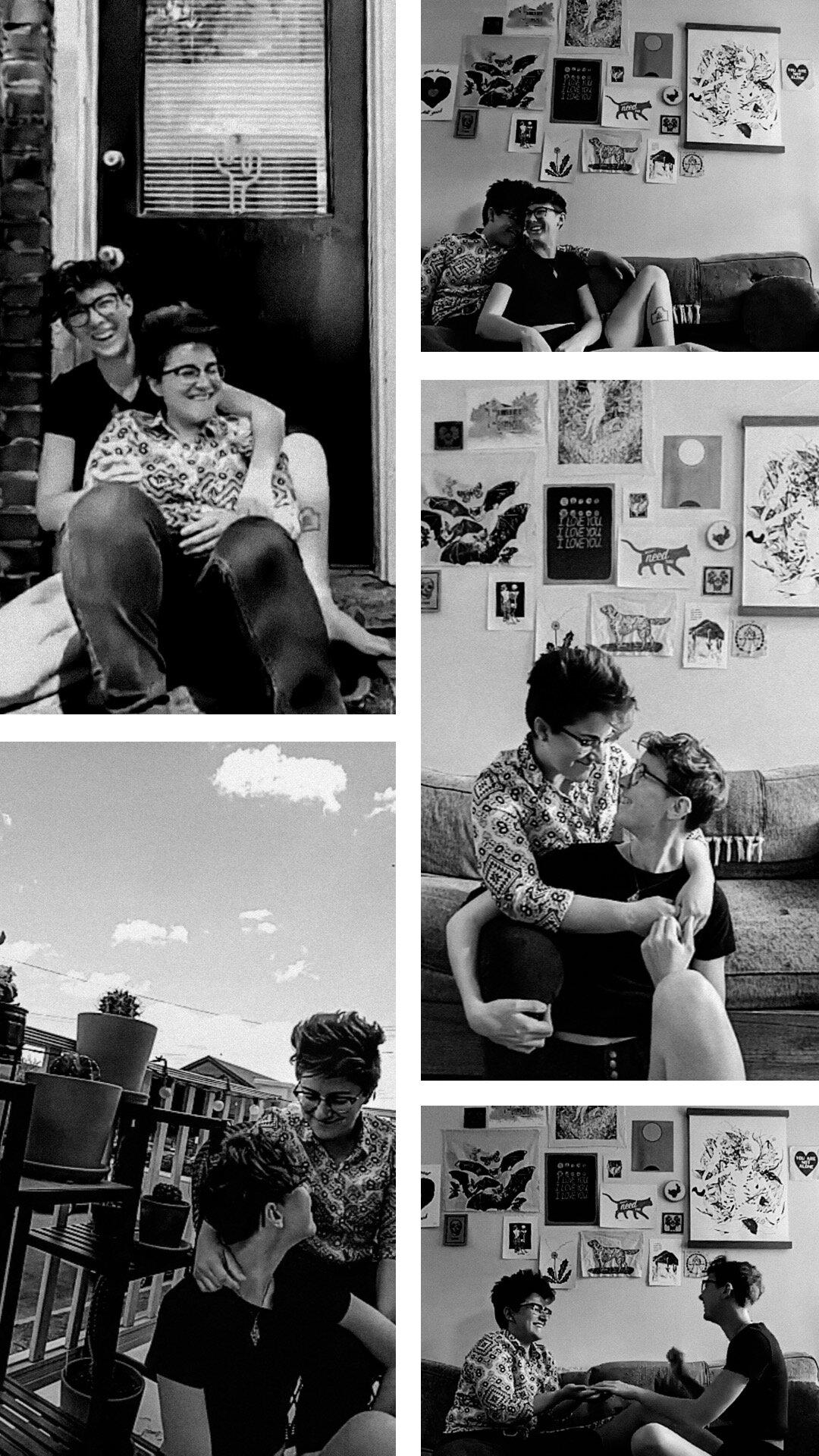 LGBT couple in their home photos taken via facetime