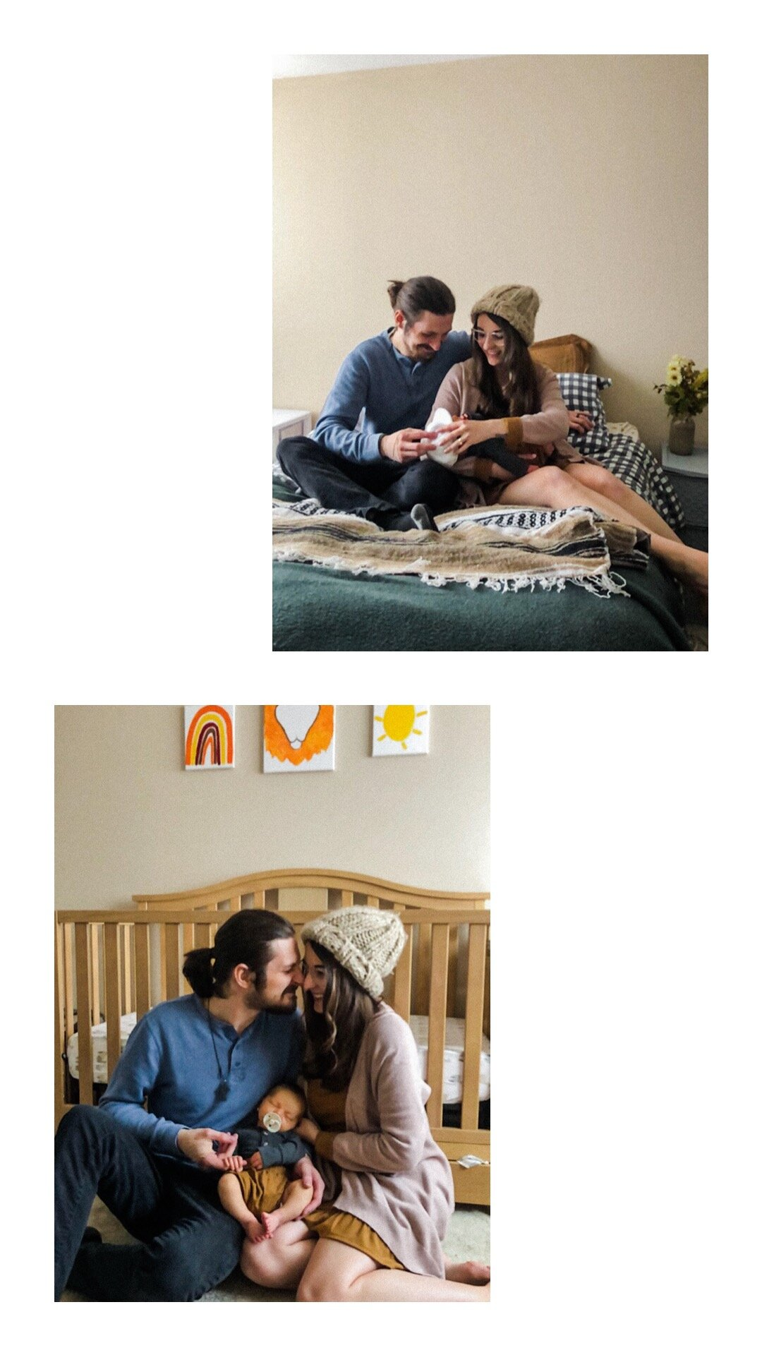 Young couple and newborn in their home. Photos taken via Facetime