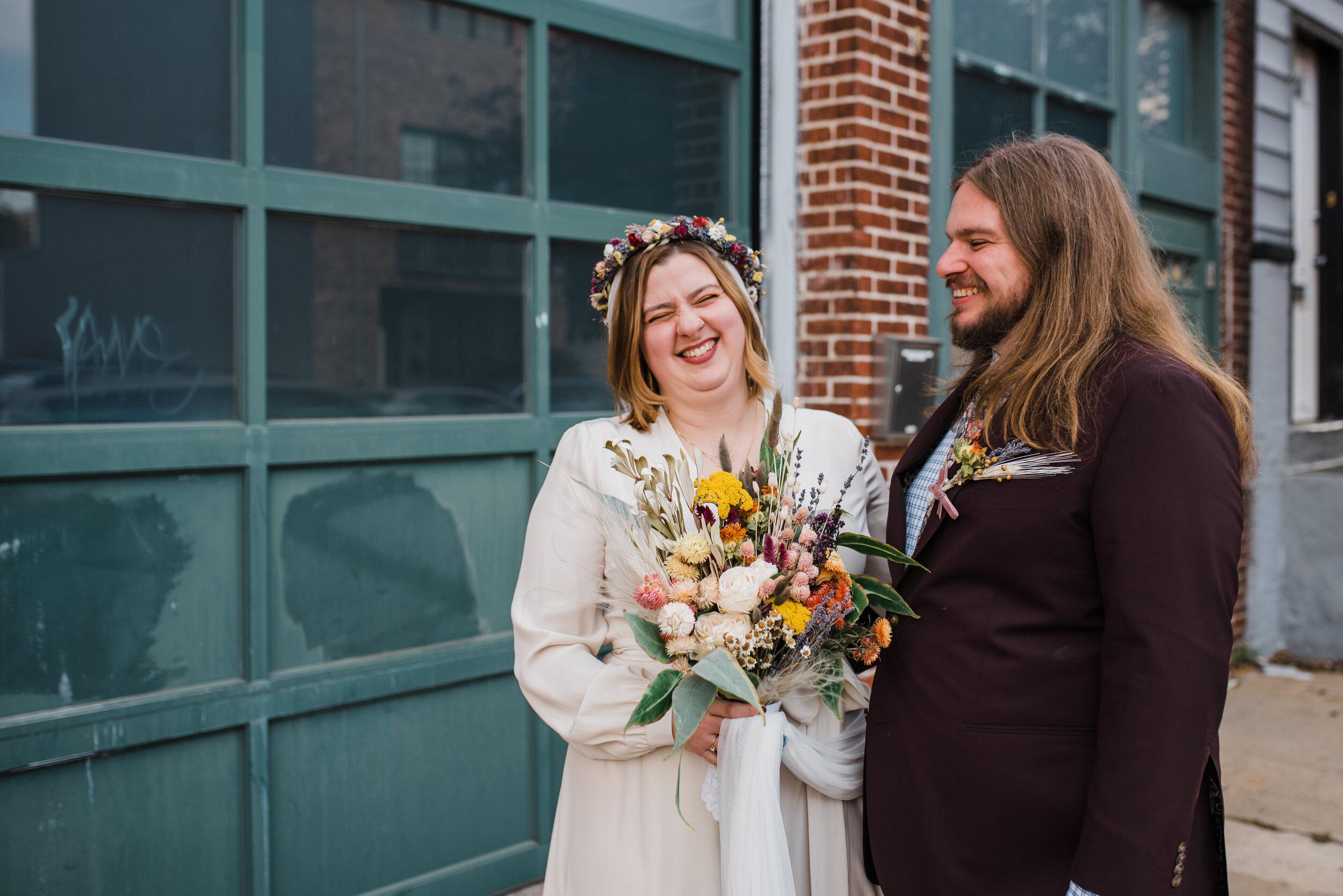 Hipster wedding couple in Philadelphia.