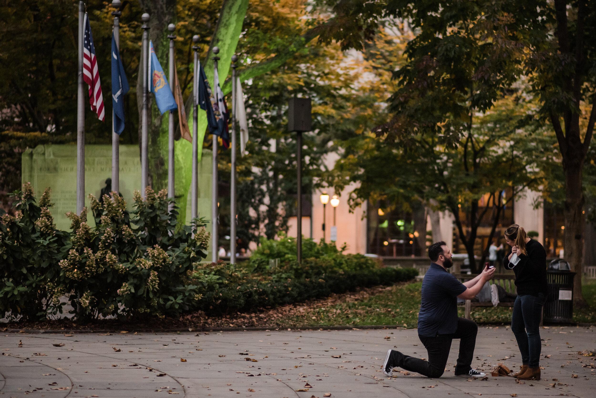 Philadelphia surprise proposal in Rittenhouse square