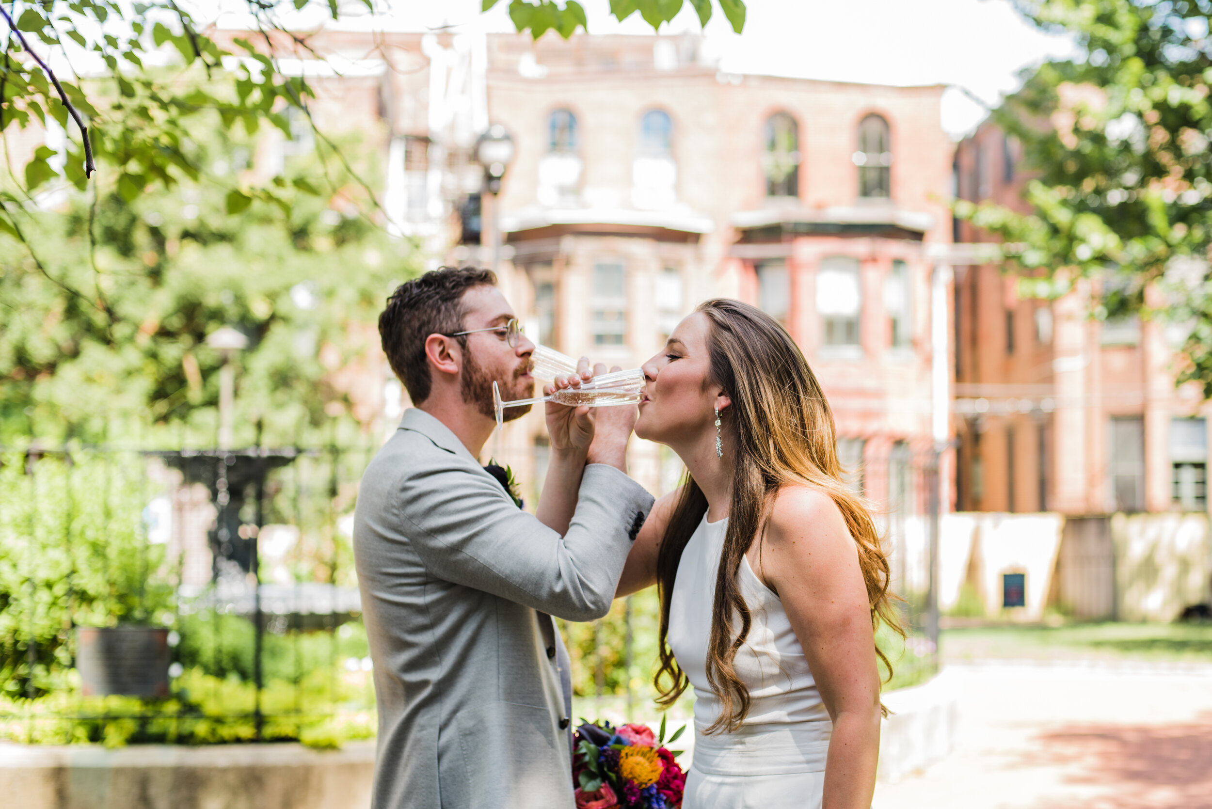 Couple having some champagne.