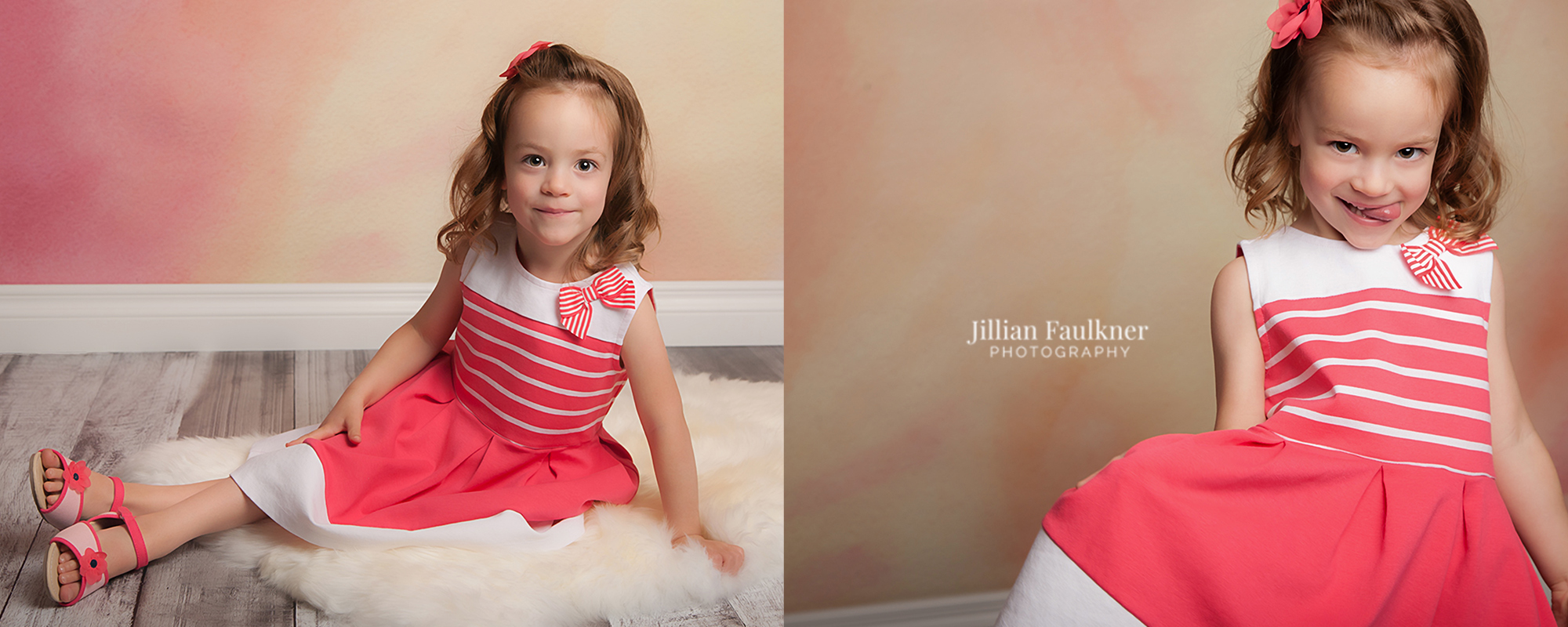 Child Photographer, Jillian Faulkner, offers numerous backdrop selections and photography props to all of her clients.