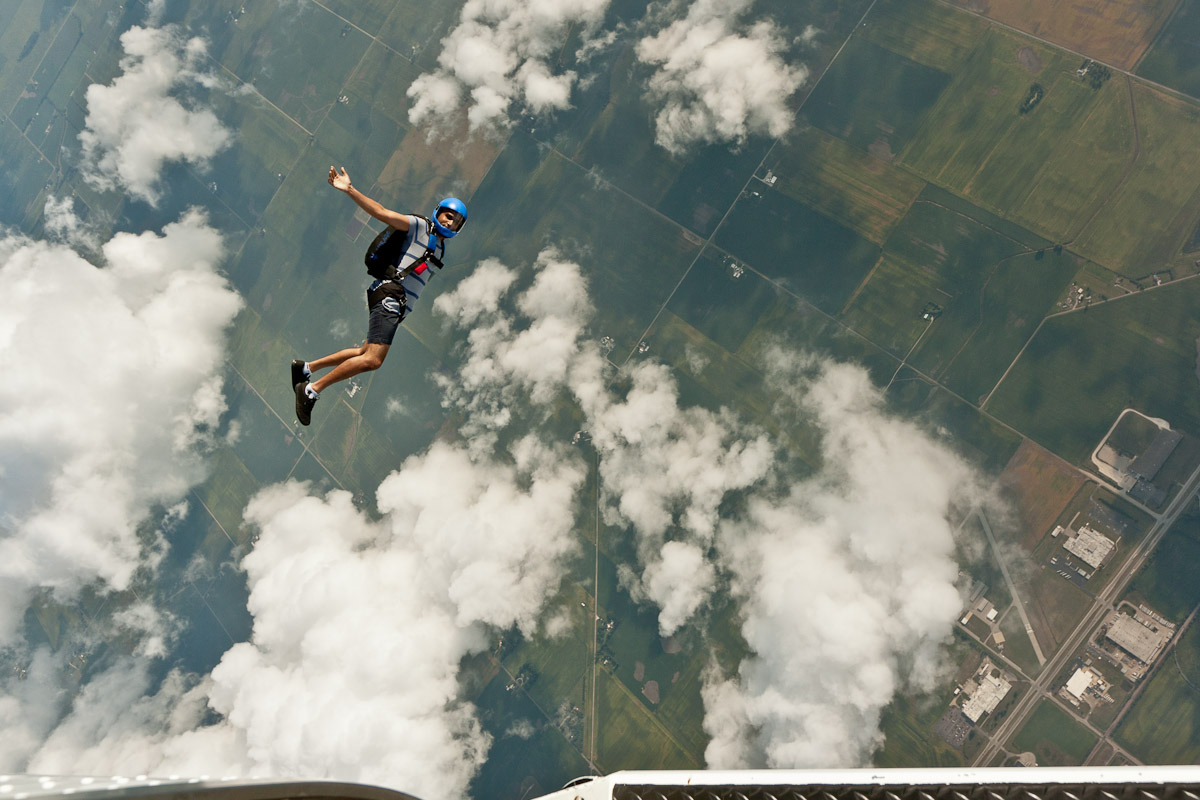 Experienced skydiver jumping a new rig