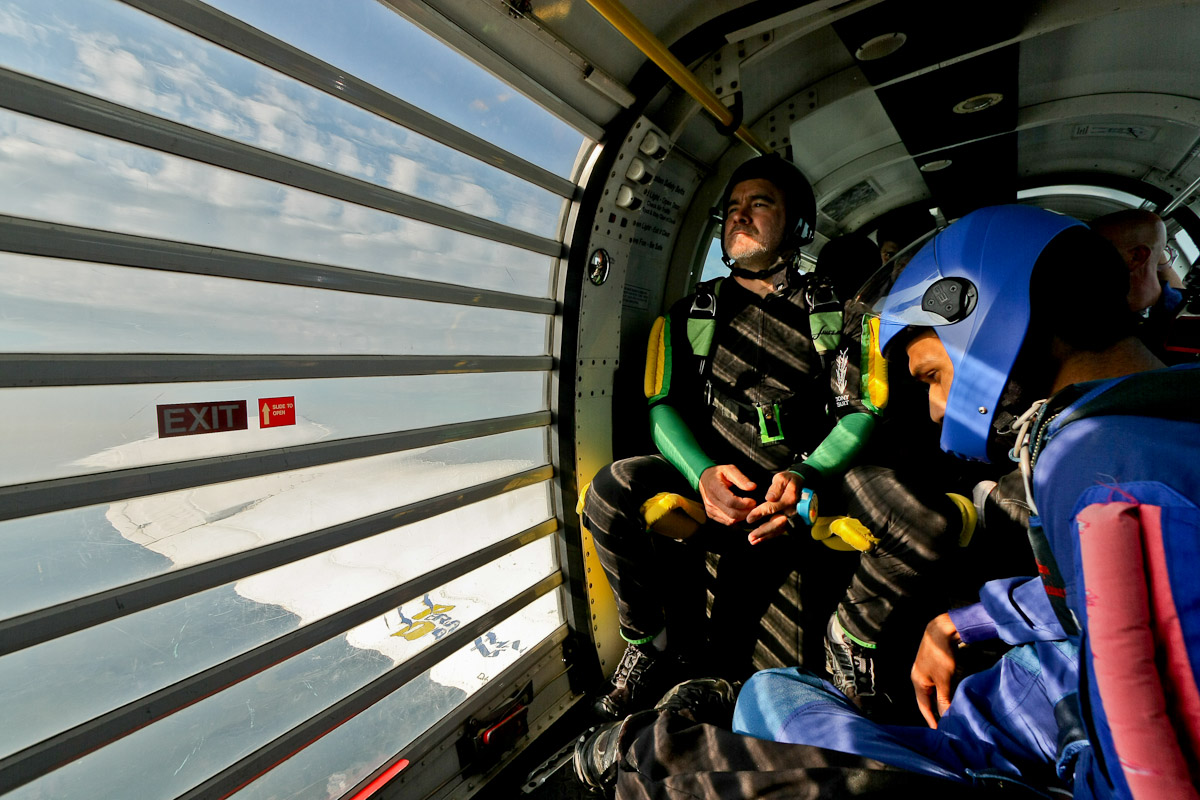 Experienced skydivers waiting for the door to open