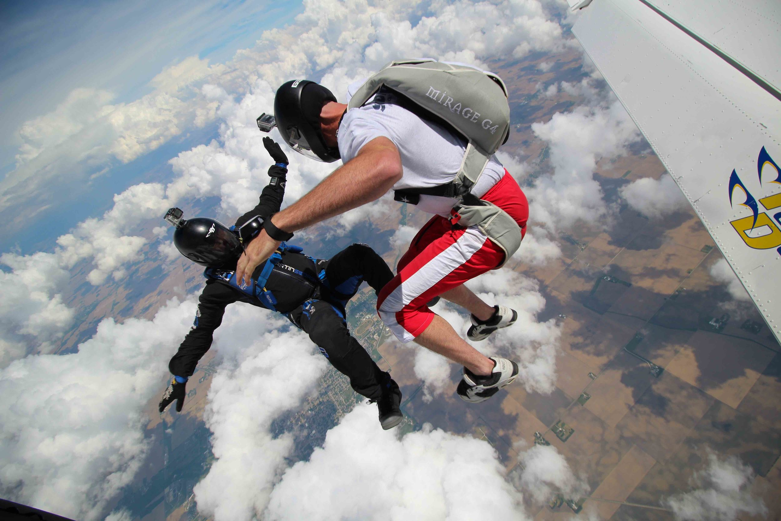experienced skydivers with GoPros