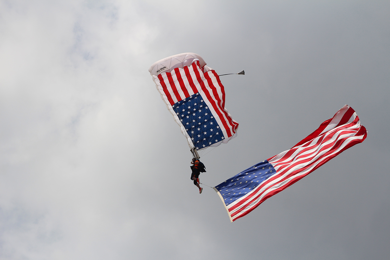 A pro-rated skydiver flies the flag
