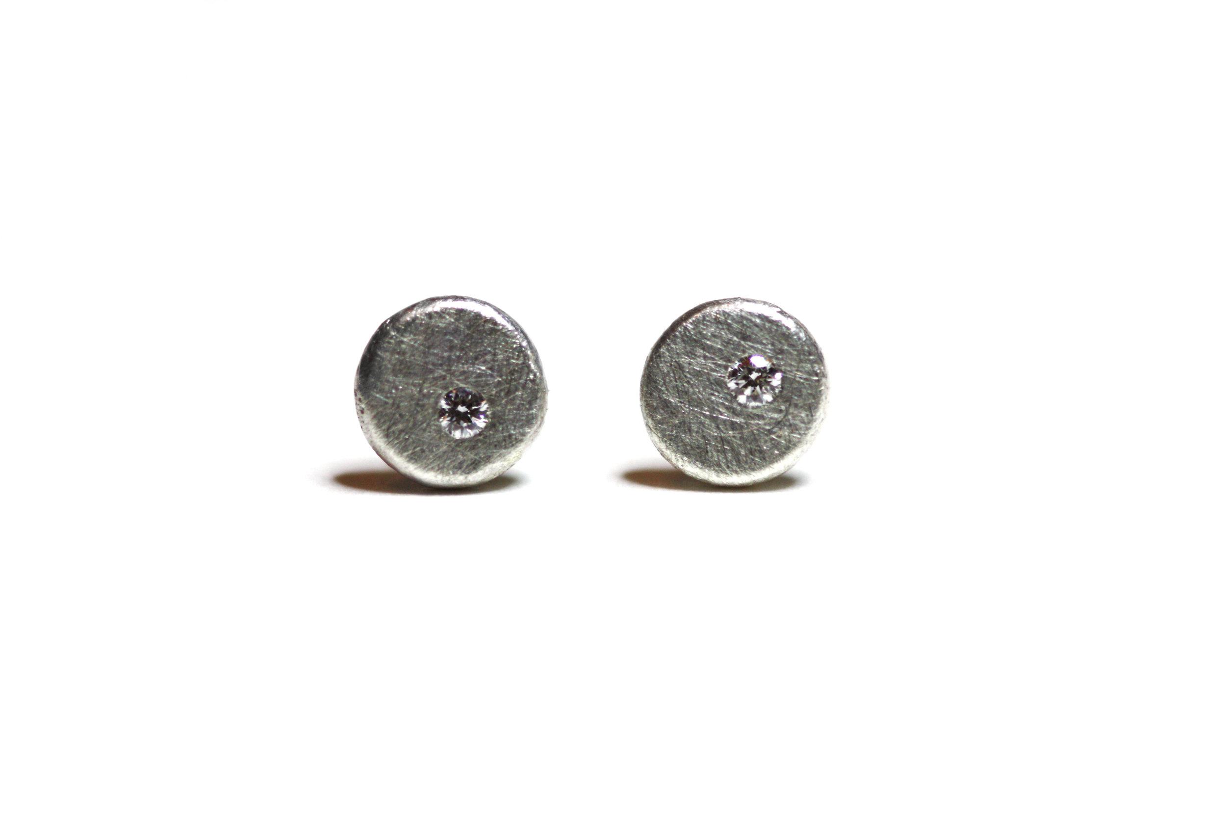Silver Speckle Diamond Studs