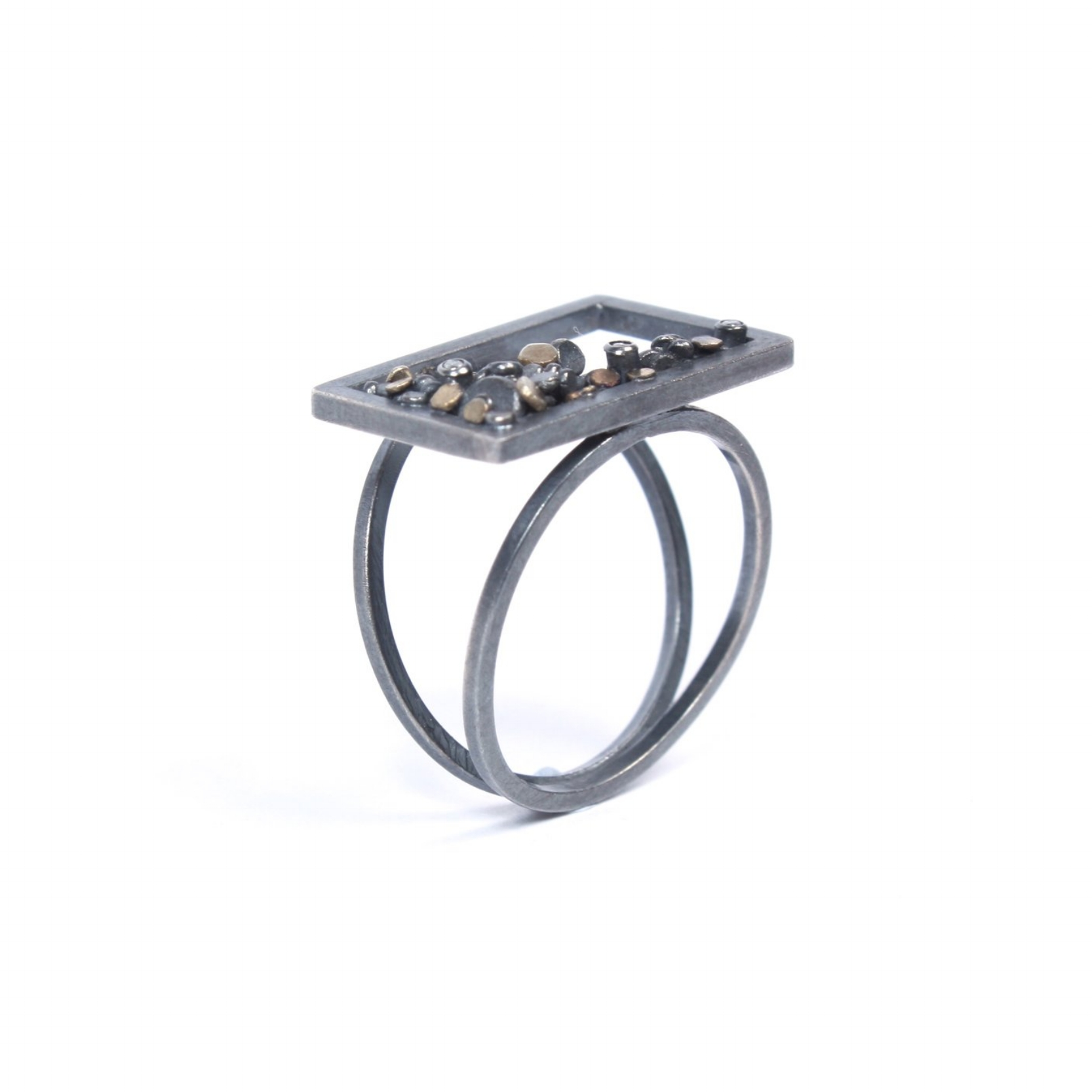 Speckle Frame Ring  Oxidised silver, 9ct white gold and diamonds make up this statement ring and are only made to order.